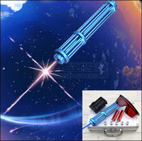 Wholesale focus pens - Gift Package 10 Miles New Style NBE3M-II 450nm High Power Adjustable Focus Blue Laser Pointer Pen bettery &charger &glasses &5 star caps
