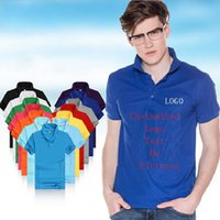 Wholesale double button shirts - Customized Men Polo Shirts Man Jersey Logo Print Teenagers Tees Shirts Personalized Polos Tops Outfit T-Shirts Pure Solid Tee