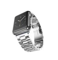 полоса для часов из янтаря оптовых-Для Apple Watch Band 44 мм 42 мм черное золото из нержавеющей стали браслет пряжка ремешок клип адаптер для Apple Watch Band 38 мм 40 мм для iWatch