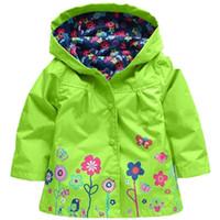 çiçek kız kat toptan satış-Yeni 2018 Rüzgarlık Kız Ceket Çiçek Bahar Sonbahar Kızlar Için Trençkotlar Çocuk Yağmurluk Giyim Çocuk Giysileri