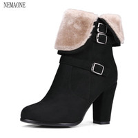 женщины размером 33 каблука оптовых-NEMAONE Winter Women Round Toe Ankle Boots High Heels Shoes Double Buckle Platform Short  Booties Size 33-43