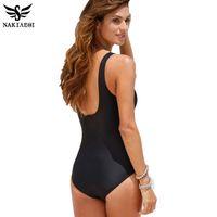 Wholesale Beachwear 4xl - 2018 New One Piece Swimsuit Women Plus Size Swimwear Retro Vintage Bathing Suits Beachwear Print Swim Wear Monokini 4XL free shopping 03