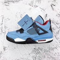 Wholesale r medium - 2018 Hottest Travis 2019Scott 4 Houston 2020Oilers J O R D A N Basketball Shoes Men Authentic Blue Suede With Original Box Sports 308497-406