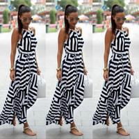 Wholesale striped women s skirts - Women Sexy Summer Dress Ankle-Length Striped Skirt Fashion Bohemian Maxi Long Evening Party Dress Beach Dress Sundress New