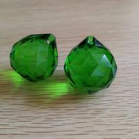 araña oscura al por mayor-30mm 10 unids / lote Crystal Prism Parte Chandelier Crystal Shinning Ball Dark Green Glass K9 Ball