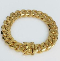 Wholesale 14k cuban bracelet - Men 18K Yellow Gold Box Clasp 12mm Miami Cuban Link Bracelet