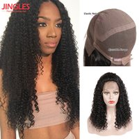 Wholesale long curly human hair weave - Jingleshair Human hair Kinky Curly wave full lace wigs Brazilian Unprocessed Remy Human Hair Wigs Bleached konts Full Lace wigs weaves