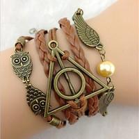 pulsera de los santos al por mayor-Venta entera Brazalete de múltiples capas Pulsera mágica de bronce antiguo, pulsera, ala de búho Pulsera personalizada