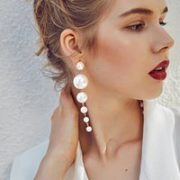 Wholesale Artificial Pearl Jewelry - 10cm Artificial Pearl Earring Dangle Luxury Designer Earring Designer Jewelry Big Hoop Earrings Disco Ball Mothers Day Gifts