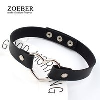 Wholesale Leather Necklaces For Men Chokers - Charm female chokerTrendy Stainless Steel Heart Chokers Necklaces Colorful Leather Buckle Belt Jewelry for Women Men maxi colar
