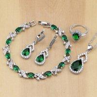 anillo de jade verde plata esterlina al por mayor-set de cristal 925 Sterling Silver Green CZ White Crystal Jewelry Sets para mujeres Pendientes / Colgante / Collar / Anillos abiertos / Pulsera