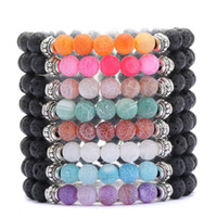 Wholesale bracelet energy cuff for sale - Hot Sale Beaded Bracelet Lava Rock Natural Stone Weathered Fissure Grain Stone Cuffs Bangles Energy Yoga Chain Whoelsale