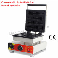 Wholesale Lolly Waffle Machine - Commercial Lolly Waffle Maker Machine 4 Molds Tower-type Non-stick Cooking Surface 1500W 220V 110V Stainless Steel Brand New