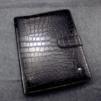 Wholesale stationery leather online - Germany Brand Crocodile Leather Notebook Black Agenda Luxury Logo Diary Office Notebook Notepads Handmade Personal Diary Stationery Products