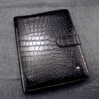 Wholesale notebook products - Germany Brand Crocodile Leather Notebook Black Agenda Luxury Logo Diary Office Notebook Notepads Handmade Personal Diary Stationery Products