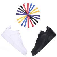 siyah büyü kadın toptan satış-2018 Sıcak Yeni Zorla 1 Tasarımcı Erkek Kadın Sneakers Spor Koşu Rahat Ayakkabılar Ücretsiz Değiştirme of Sihirli Kanca Siyah Beyaz Kaykay Ayakkabı