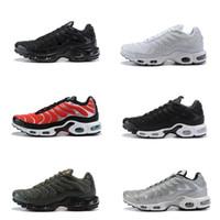 sapatos novos para o exército venda por atacado-2018 New Plus Tn 20 º Aniversário Triplo preto Branco Mens Running Shoes Vlone Volt Brilho Exército Vermelho TNs Formadores Esportivos Tênis Tamanho 40-46