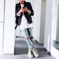 Wholesale mens stylish ripped jeans for sale - Group buy Designer Mens Ripped Skinny Straight Slim Elastic Denim Fit Biker Jeans Pants Long Pants Stylish Straight Slim Fit Jeans