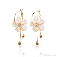 Wholesale camellia flower earrings - Europe and the United States jewelry with the paragraph crystal five leaf long section of camellia flower earrings diamond earrings