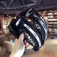 siyah baş bantları toptan satış-Seksi Dantel Saç Bantları Marka Mektuplar Tasarım Bandı Kadın Moda Siyah Kafa Bantları Şapkalar Saç Aksesuarları