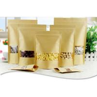 ingrosso confezione kraft bag-Sacchetti a prova d'umidità di cibo Sacchi a pelo di snack Sacchetto di imballaggio a chiusura lampo Sacchetto di carta Kraft con finestra trasparente per alimenti secchi