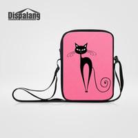 ingrosso gatto rosa caldo-Dispalang New Hot Cartoon Mini Messenger Bag 3D astratto Cat stampa rosa tracolla Crossbody per la ragazza Cute Small Casual