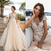 Wholesale crystal embroidered wedding dress online - Cap Sleeves D Floral Lace Appliques A Line Wedding Dresses Embroidered V Neck Princess Beads Beach Bohemian Sheer Back Bridal Gowns