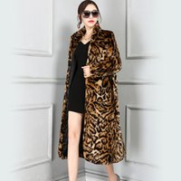 Wholesale leopard fur plus size - Nerazzurri High Quality Europe Fashion X-Long Faux Fur Leopard Coat Women Full Sleeve Female Winter Overcoat Plus Size 5XL 6XL