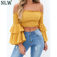 ingrosso gialle camicette estive-NLW Cold Shoulder Flare Sleeve Summer Sexy Camicia Camicetta 2018 Backless Slash Neck Beach Party Rosso Giallo Bianco Nero Crop Top
