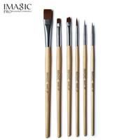 yüz fırça ahşap toptan satış-IMAGIC 6 adet / takım için fırça boyama boya fırçası vücut ve yüz makyaj fırça seti araçları ile ahşap saplı ve Kolinsky