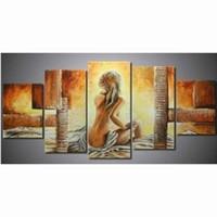 photos nue sexy achat en gros de-5 Panneau Peinture Chambre Abstraite Nue Femmes Toile Art Peintures À L'huile Sexy Fille Nue Photos Décor À La Maison Acrylique Mur Artwork