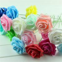 Wholesale white rose stem resale online - Handmade Party Festival Wedding Foam Roses Flower with Stem DIY Wedding Bouquet Flowers Home Fake rose Floral Decor cm