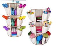 Wholesale Hanging Shoe Racks - 3-Tiers Multi Pocket Hanging Smart Carousel Organizer Shoe Rack Handbag Storage Bag Organizer Holder Hosekeeping Accessories 150pcs