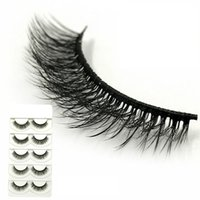 Wholesale natural cotton thread - 5 Pairs 3D Lashes Natural Curly Multi-layered Messy Makeup False Eyelashes Pure Handmade Cotton Thread Terrier Stage Fake Eyelashes