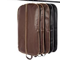 Wholesale suit dust covers - New Coffee Folding Business Suit Coat Clothe Garment Dust Cover Protector Storage Bag