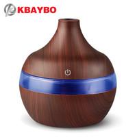 aromatherapie holz großhandel-KBAYBO USB 300ml Aroma Luftbefeuchter Aromatherapie Holzmaserung 7 Farbe Led-leuchten Elektrische Aromatherapie Ätherisches Öl Aroma Diffusor
