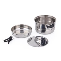 Wholesale set pots stainless for sale - Group buy Stainless Steel Outdoors Travel Pot Portable Camp Picnic Kitchen Tools Pots Practical Hiking Cookware Set Multi Funcation yd Ww