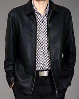 Wholesale men leather down jacket - 2018 leather jacket men genuine leather men's clothing casual turn-down collar medium-long leather clothing jacket