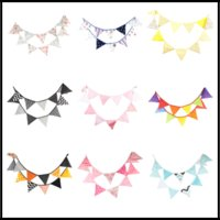 Wholesale craft parties - 12pcs lot Fabric Bunting Flag 3.2m Banners 9 Styles Birthday Party Decorations Wedding Centerpieces Home Decor Craft Supplies