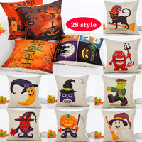Wholesale anime pillowcases resale online - Halloween Pumpkin Pillow Case Linen Cartoon Anime Pillowcase Home Sofa Car Decorative Xmas Gifts Home Decorative Without core WX9
