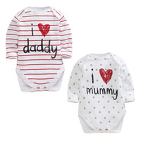 Wholesale baby romper i love for sale - Group buy Funny baby boy girls newborn infant romper I LOVE DADDY MUMMY clothing set toddler fashion jumpsuits top quality
