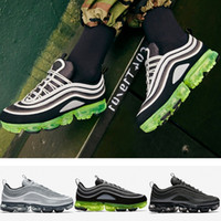 Wholesale Spikes Shoes For Men - 2018 Newest Vapormax 97 Men Running Shoes Japan Silver Gold Bullet Triple White Black For Mens Sports Casual Sneakers US 8-11