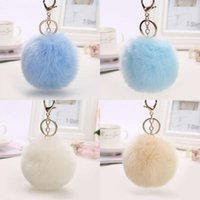 Wholesale valentines gift bags - Faux Rabbit Fur Ball Keychain Soft Cute Metal Key Chains Ball Pom Poms Plush Pendant Keyring Bag Car Accessories Valentines Day Gift