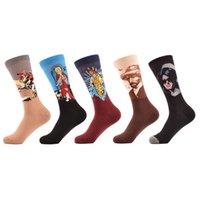 ingrosso olio di gesù-5 paia / lotto Calze da uomo in cotone pettinato casual da uomo Napoleone Jesus Oil Painting Crew Socks Colorful Funny Winter Happy Socks