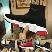 meias de alta qualidade para homens venda por atacado-Meia Sapato Velocidade Trainer Tênis Com caixa de Alta Qualidade Sneakers Speed Trainer Meias Corredores de Corrida sapatos pretos homens e mulheres Calçados Esportivos