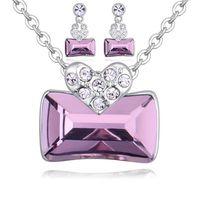 nest charme großhandel-1000se mit SWAROVSKI Elements Crystal Necklace Earrings Set geometrischer Schmuck übertrieben weibliches Liebesnest