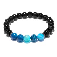 голубой тигр глаз бисер оптовых-Natural Blue Veins Stone  Energy Bracelet For Women Men Prayer Yoga Tiger Eye Beaded Strand Bracelet Dropshipping