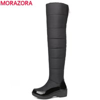 Wholesale Thigh High Open Toe Boots - MORAZORA Fashion winter keep warm plush snow boots high quality down over the knee boots footwear platform thigh high fur