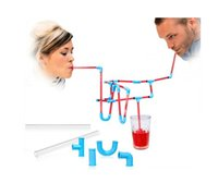 Wholesale puzzles bar - Flexible Diy Connectible Sucking Straws Tubes Puzzle Toy For Fun Party Drinks