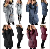 Wholesale Turtleneck Sweater Coat - Women's Slim Coat Jacket Outwear Winter Side Zipper Coats 5XL Long Sleeve Sweater Outwear High Collar Pullover Blouse KKA4100